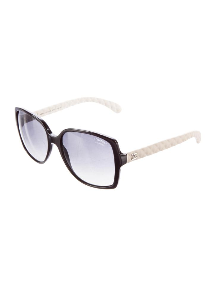 3eaf4f035031 Chanel Black White 5289 Q Square Cc Logo Quilted Goatskin Leather Polarized  Sunglasses - Tradesy
