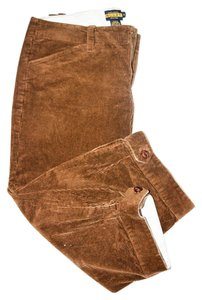 Ralph Lauren Courderoy Cropped Pant Leather Detail Capris brown
