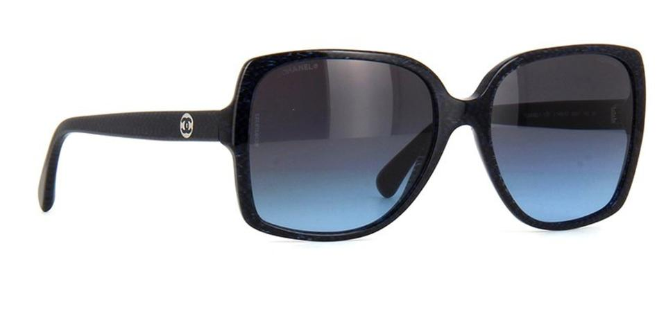 cf8ab85fb5e7 Chanel Black 5267 Wayfarers Cc Logo Navy Blue Gradient Square Oversized  Signature Sunglasses - Tradesy