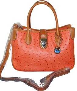 Dooney & Bourke Ostrich Leather Orange Satchel in Light Orange