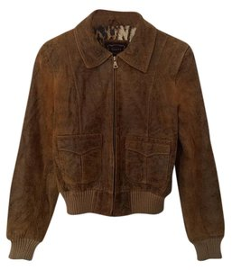 Guess Genuine Leather Bomber Motorcycle Leather Vintage Look Brown Leather Jacket