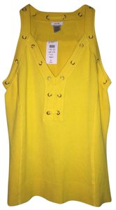 Cache Spring Summer Tropical Sexy Lace Up Top Yellow