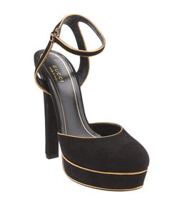 Gucci Gg Ankle Strap Heels Formal Black,Gold Sandals