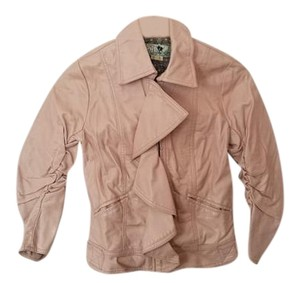 Joie Faux Leather Girly Ruffle Collar Bomber Pink Leather Jacket
