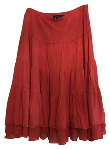 Razzle Dazzle Coral Flowy Gypsy Bohe Skirt Coral Red