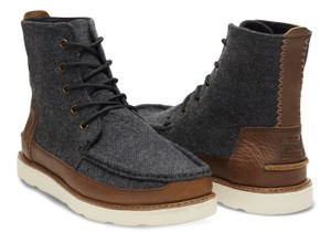 TOMS Men's Men's Leather Grey Herringbone Boots