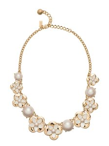 Kate Spade Kate Spade Window Seat Bouquet Small Necklace Cream Taupe Gold