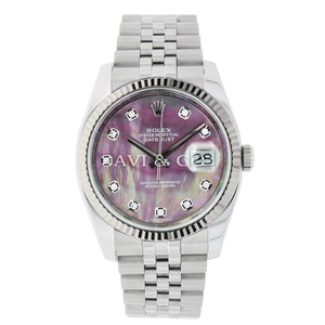 Rolex Datejust 36 Steel & White Gold Watch Silver Floral Motif Dial 116234