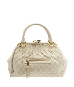 Marc Jacobs Stam Quilted Leather Satchel in Beige