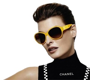 Chanel 5229QA 5229 Yellow CC Logo Cat Eye Oval Frames Quilted Patent Leather