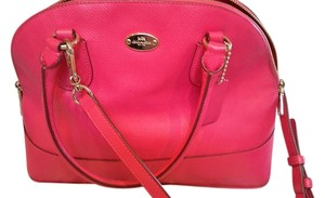 Coach Crossbody Cora Leather Satchel in ruby pink