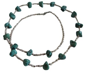 Other Southwestern Heishi Turquoise Nugget Silver Tone Clasp Necklace