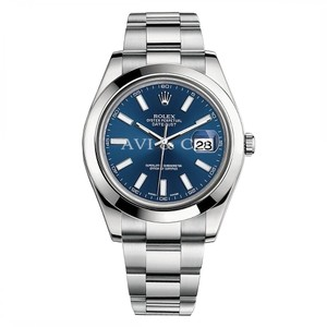 Rolex Rolex Datejust II Stainless Steel Smooth Bezel Watch Blue Index Dial