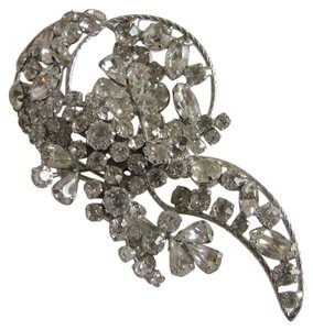 Other Vintage Signed VENDOME Large Clear Glass Rhinestone Brooch Pin
