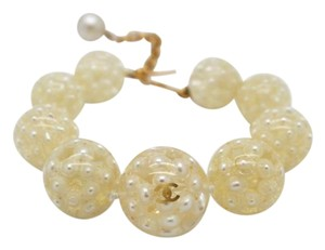 Chanel #9634 Rare pearl inlay ball bracelet gold hardware