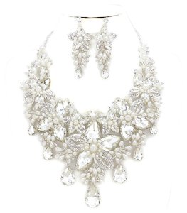 Silver Clear Rhinestone White Pearl Crescent Floral and Crystal Necklace