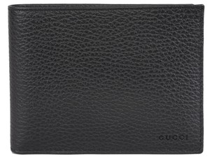 Gucci Gucci 217044 Men's Black Leather Embossed Logo Trifold ID Wallet