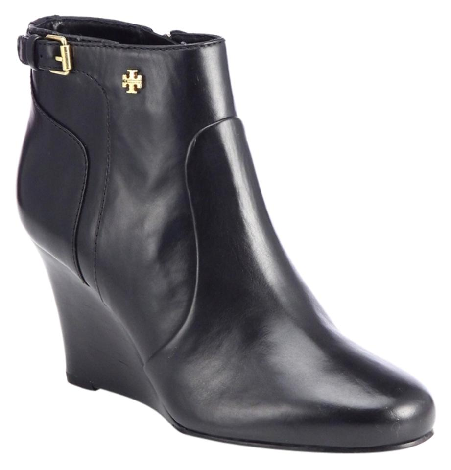 b39e1cae187 Tory Burch Black Milan Leather Round-toe Wedge Boots Booties. Size  US 6 ...