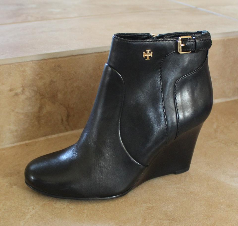 6fcdca6f025 Tory Burch Leather Milan Ankle Wedge Strap Logo Gold Hardware Black Boots  Image 10. 1234567891011