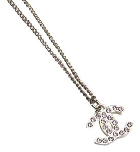 Chanel Chanel Small CC Necklace in Silver Plating and Rhinestones
