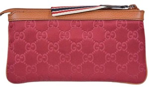 Gucci Gucci 339557 Pink Nylon GG Guccissima Zip Top Cosmetic Case Makeup Bag