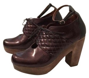 Rachel Comey Quilted Lace-up Leather Oxblood Mules