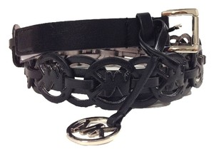 Michael Kors Michael Kors MK Cutout Repeat Logo Leather Belt, Black Small 552371