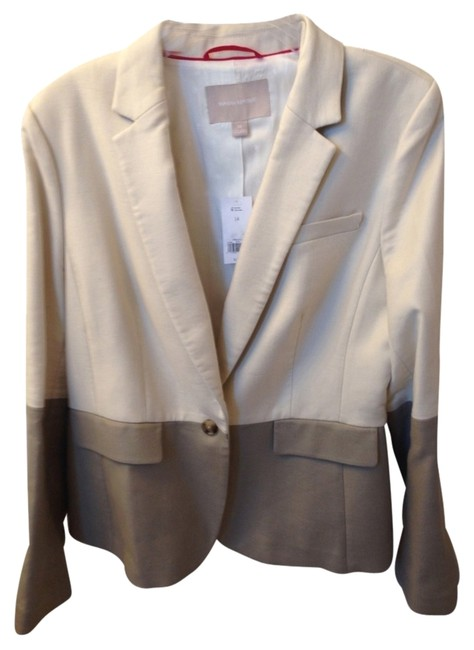 Item - Tan and Cream Jacket Skirt Suit Size 14 (L)