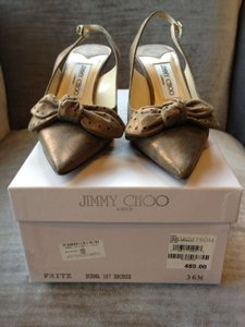 Jimmy Choo Crystals Suede Bows Dark Bronze Metallic sheen Pumps