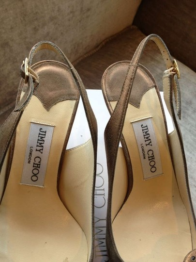 Jimmy Choo Crystals Suede Bows Gold Hardware Buckles Dark Bronze Metallic sheen Pumps