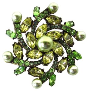 Talbots Pearl and Gem Floral Brooch