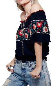 Free People Embroidered Sequins Smocked Top Black