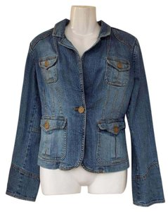 New York & Company Denim Buttons Pockets blue Womens Jean Jacket