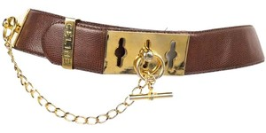 Céline Celine Brown Embossed Leather Belt With Gold Chain
