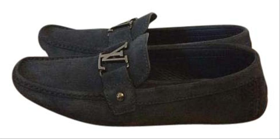 11dae8a8bb30 Louis Vuitton Navy Blue Monte Carlo Moccasin Flats Size US 8 - Tradesy