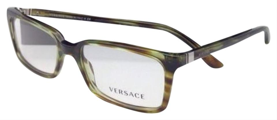 44103af5026 Versace New VERSACE Eyeglasses VE 3174 5047 53-17 Striped Green Transparent  Image 0 ...