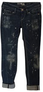 Express Jeans Distressed Boyfriend Pants Medium-dark Rinse