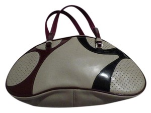 Prada Popular Style High-end Bohemian Mint Vintage Bowling Style Rare Color Combo Satchel in light taupe leather with burgundy and black canvas & patent leather,