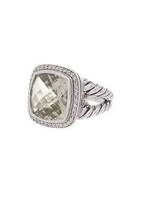David Yurman David Yurman Sterling Silver Prasiolite Diamond 14mm Albion Ring Size 8.5