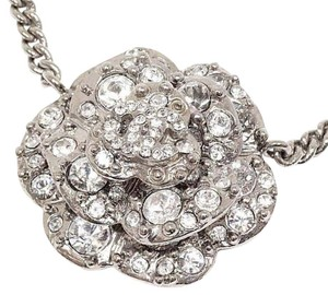 Chanel Authentic Chanel Silver Rhinestone Studded Camellia Pendant Choker