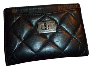 Chanel Chanel Black Leather Quilted Card Holder