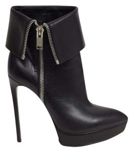 Saint Laurent Janis Platform Ankle Box Black Boots