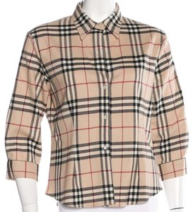 Burberry Nova Check Cotton Monogram Button Down Shirt Beige, Black