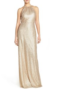 Amsale Gold Chandler Sequin Halter Style Gown Dress