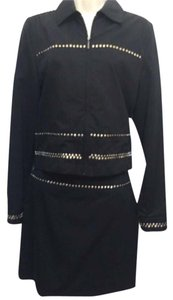 Versace Black Nickel Studded Skirt & Jacket 2pc Suit