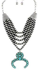 Aris Tribal Squash Blossom Necklace & Earrings Set-Silver
