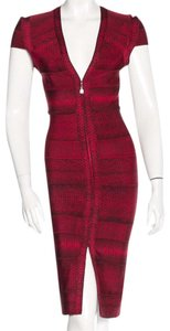 Hervé Leger V-neck Bandage Snakeskin Dress