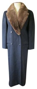 Perry Ellis Designer Double Breasted Midi Winter Genuine Fur Pea Coat