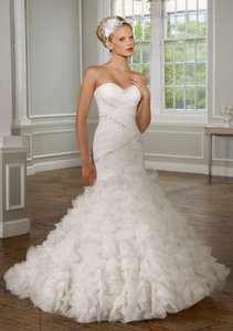 Mori Lee Ivory Tulle 1619 Modern Wedding Dress Size 14 (L)