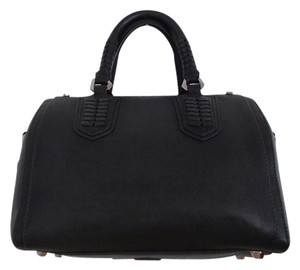 orYANY Leather Woven Satchel in Black